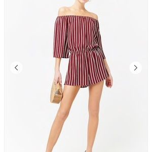 Off the shoulder Striped Crepe Romper